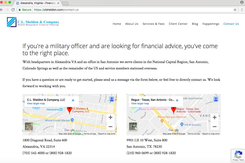 financial advisor contact page, C.L. Sheldon & Company