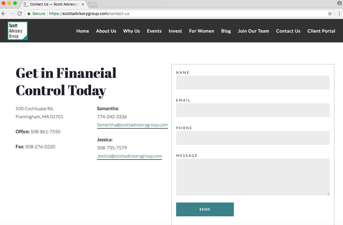 financial advisor contact page example, scott advisory group