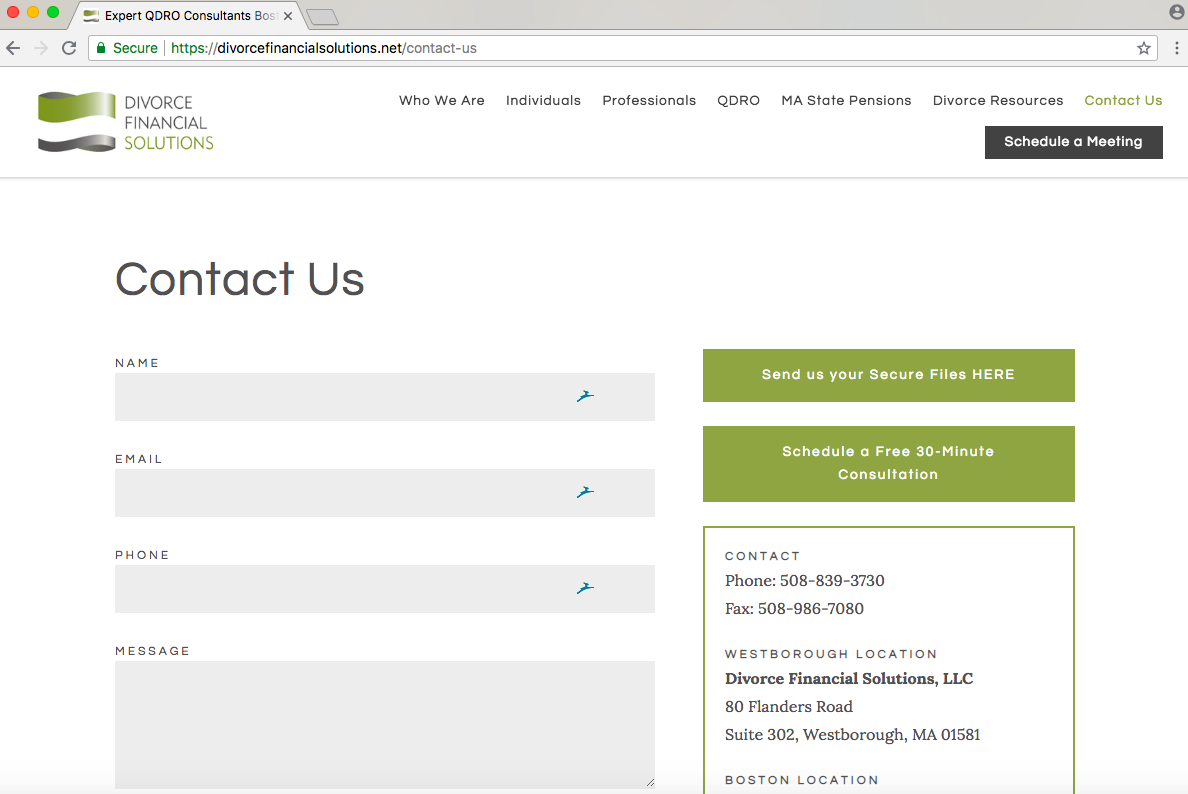calls to action on a contact page for financial advisors