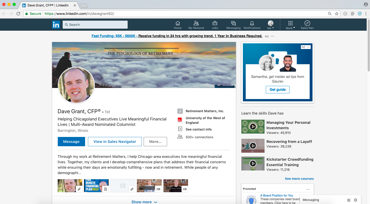 linkedin professional profile headline, dave grant CFP