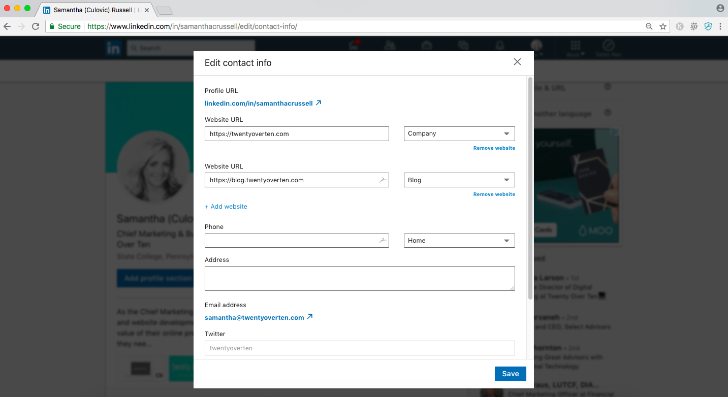 how to add website & blog URLs to your linkedin public profile