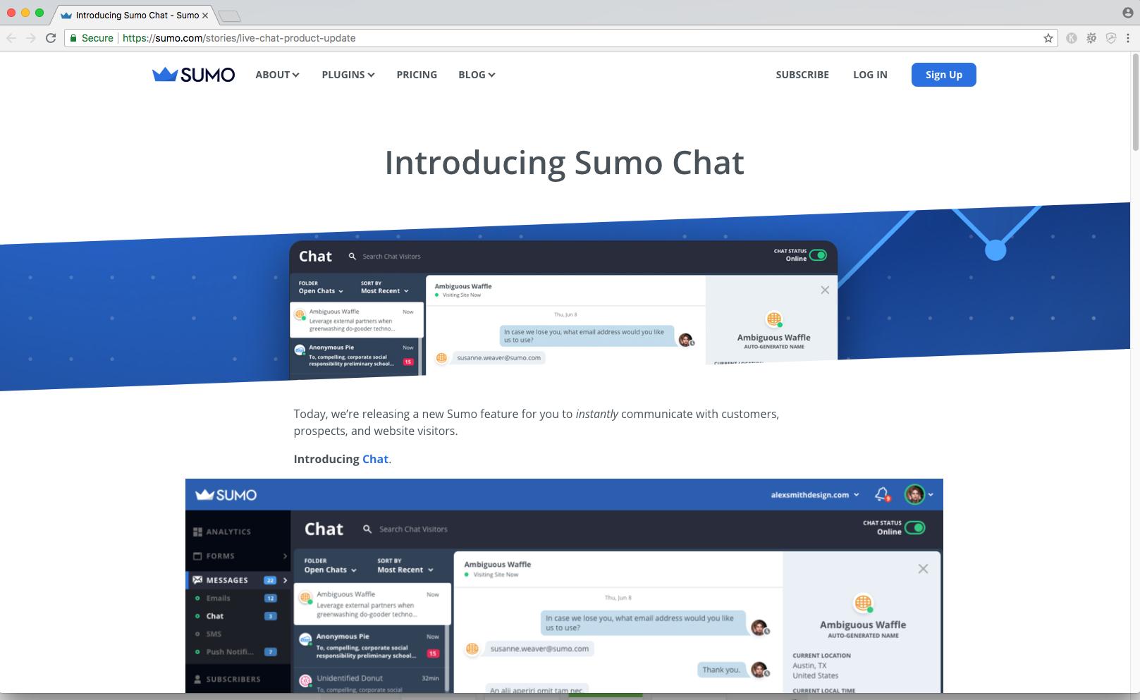 sumo chat widget