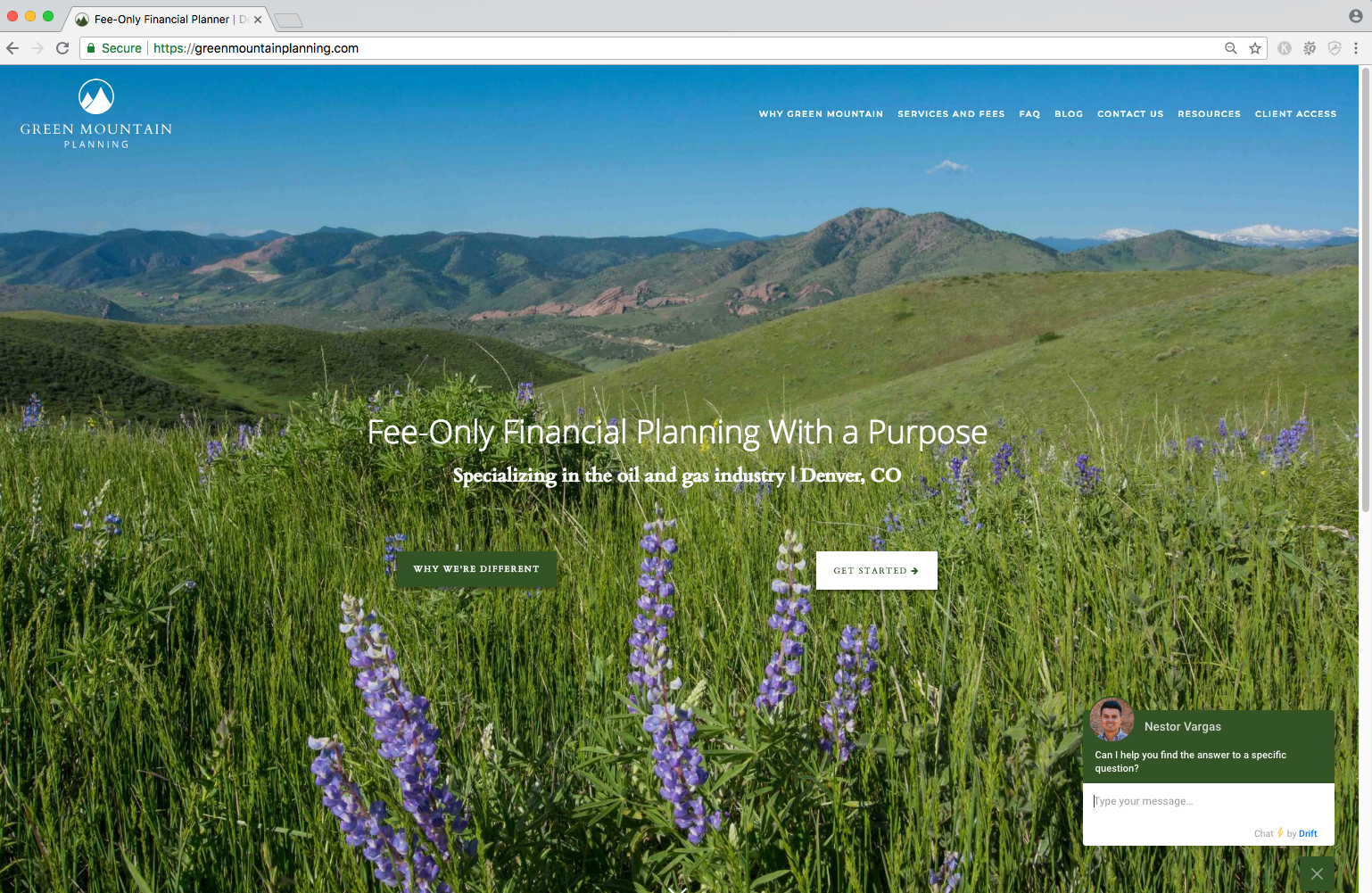live chat example from advisor website, green mountain planning