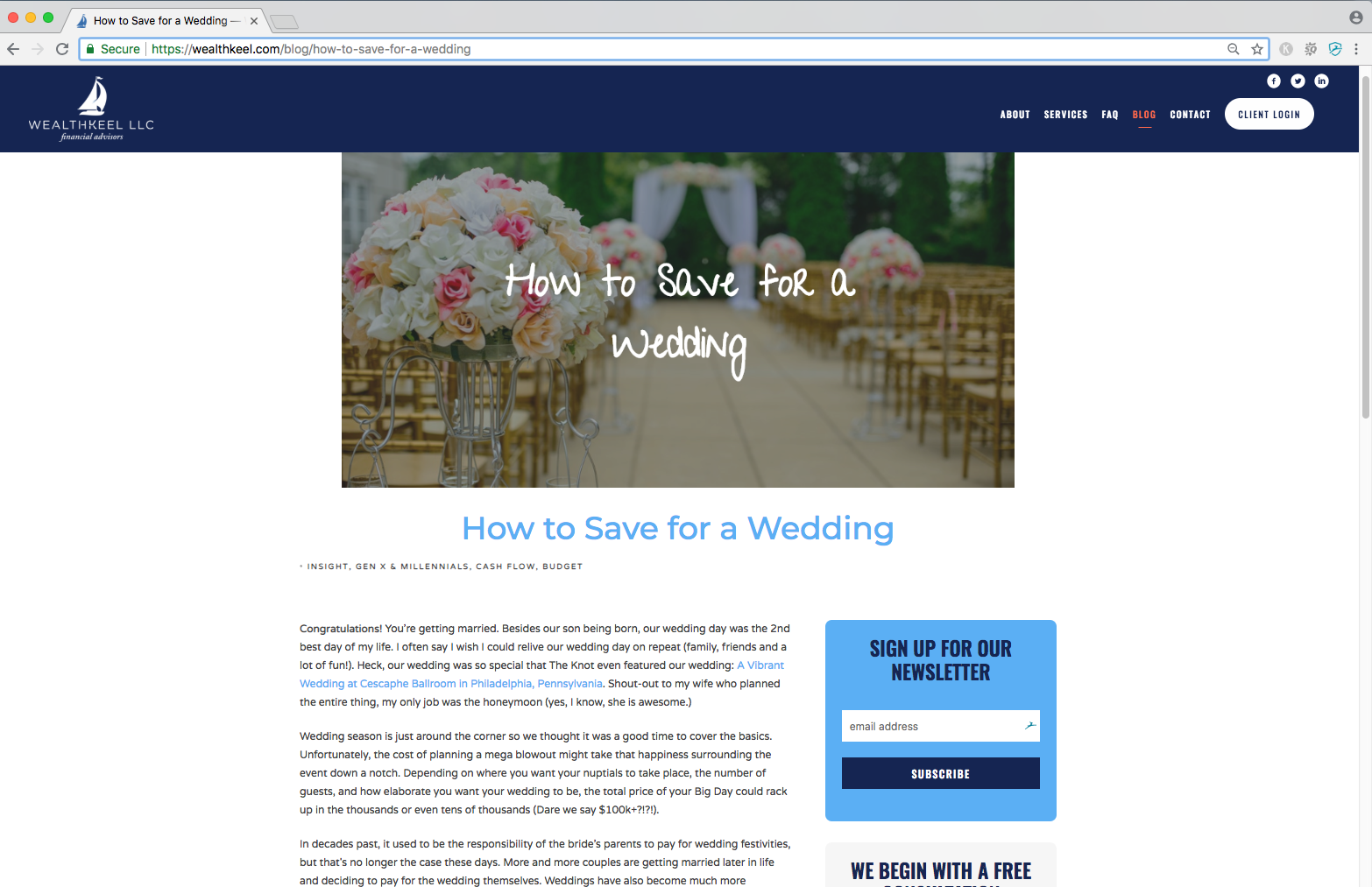 evergreen content example, how to save for a wedding