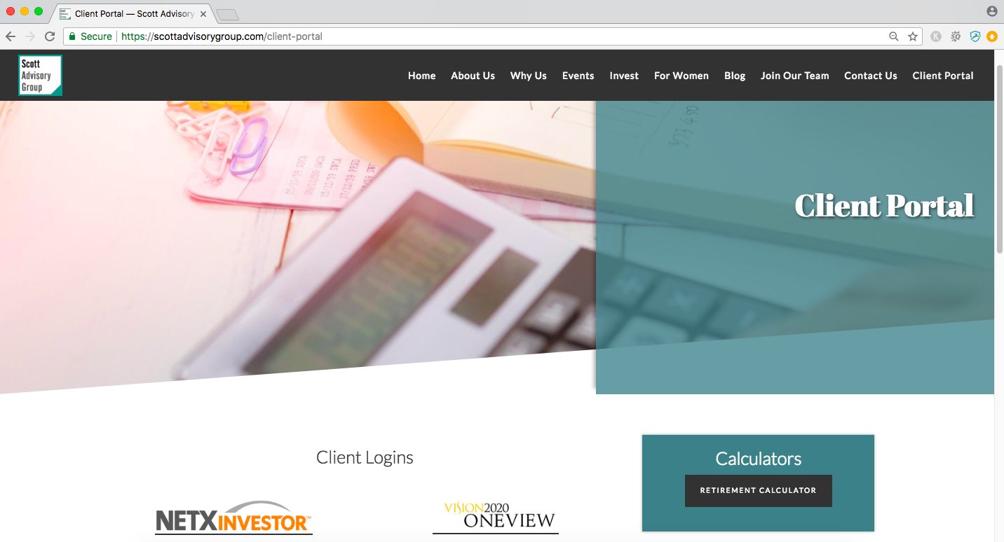 client portal page of financial advisor website