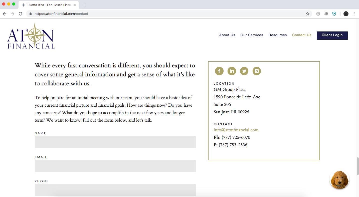 financial advisor website using social media icons/buttons