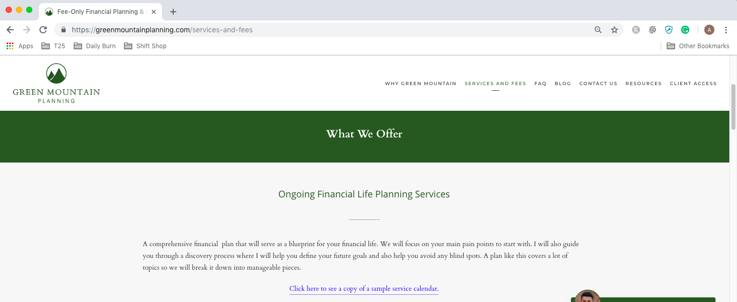 anchor text example on financial advisor website