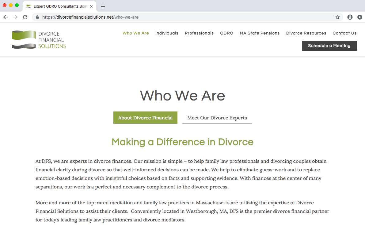 Twenty Over Ten client Divorce Financial Solutions