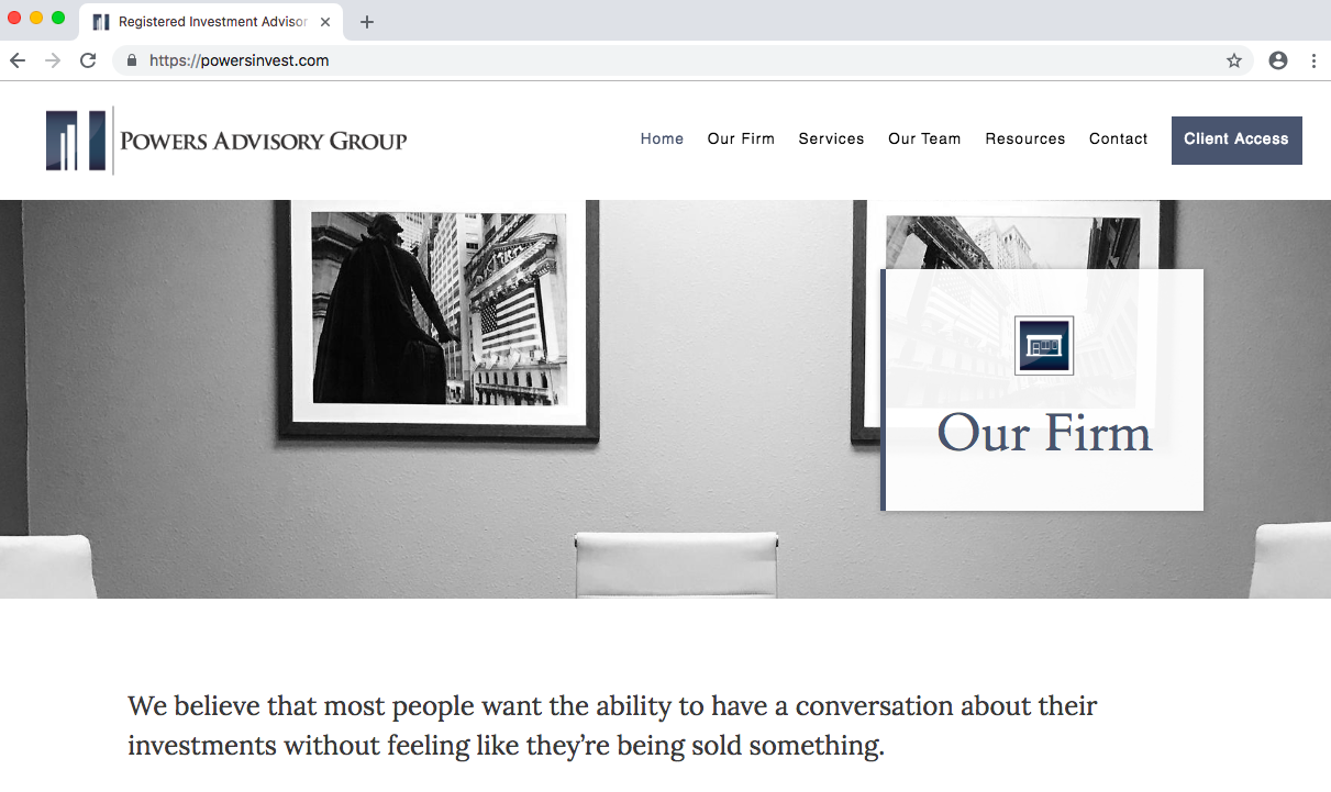 financial advisor website designed by twenty over ten