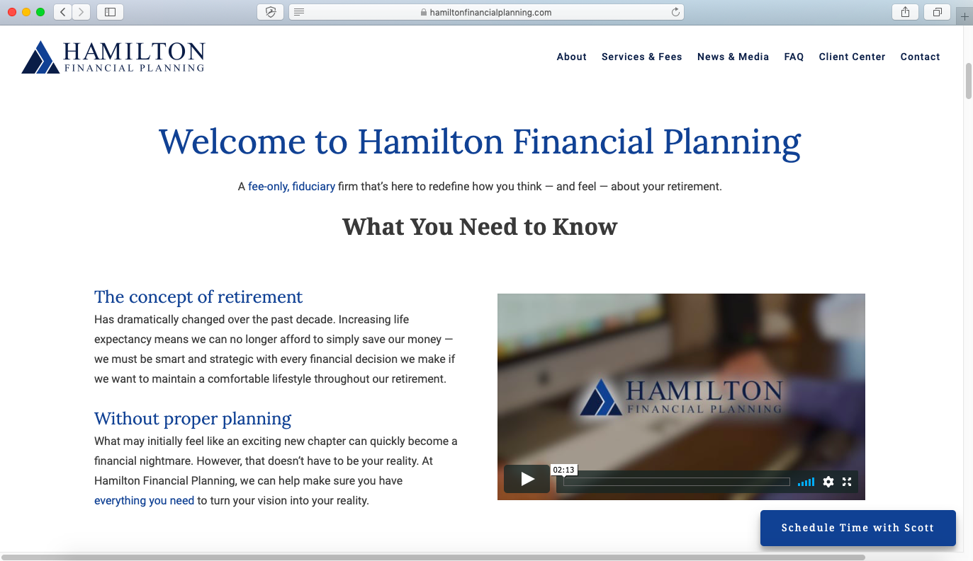 video use on website design hamilton financial planning