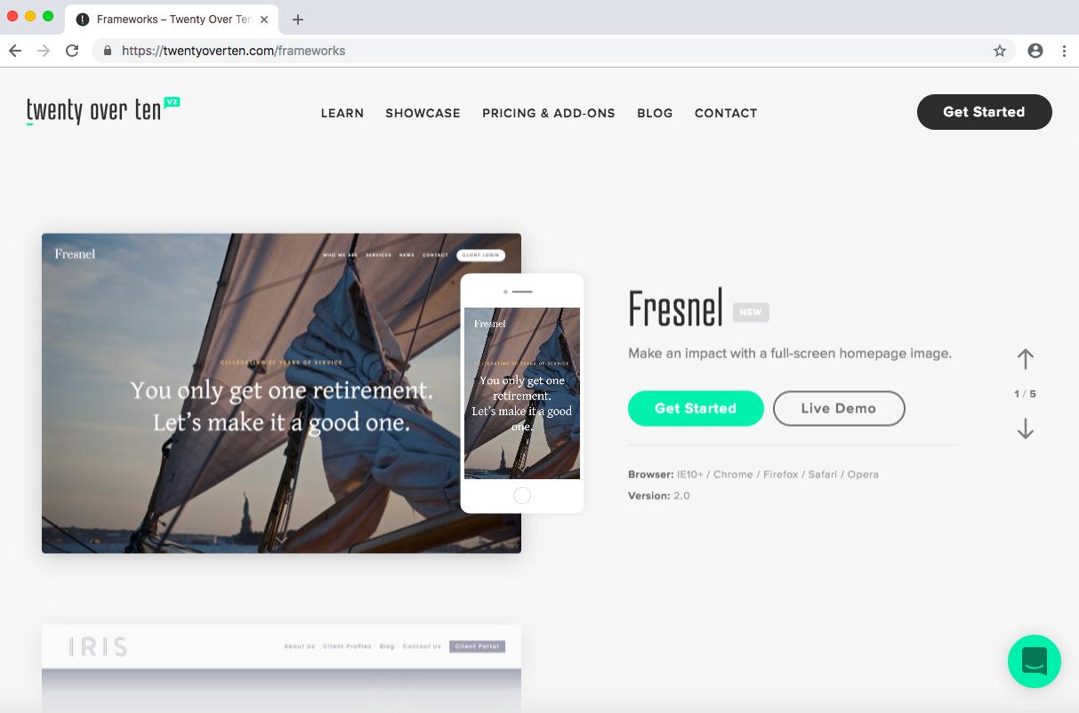 twenty over ten websites for financial advisors design frameworks