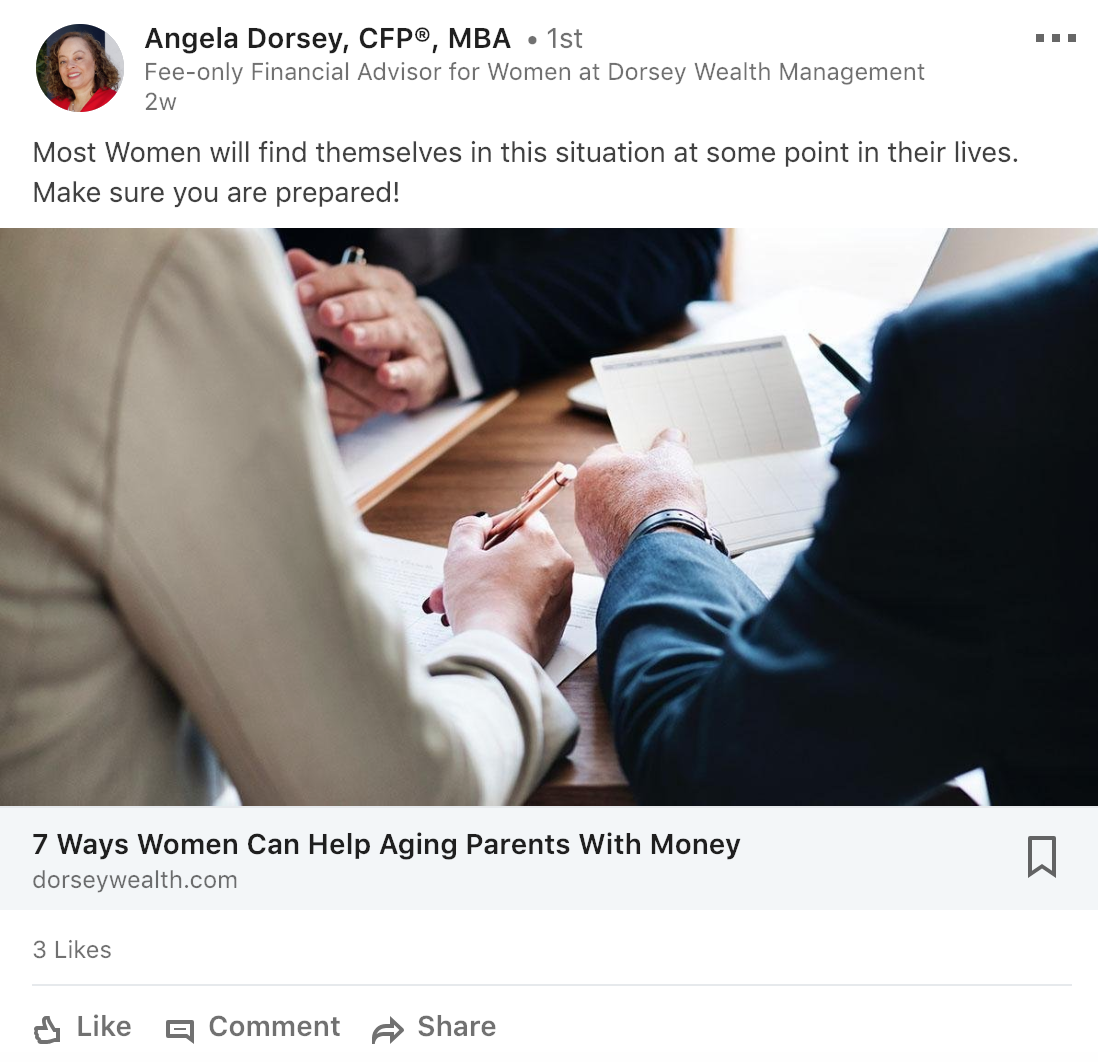 financial advisor on social media angela dorsey CFP MBA