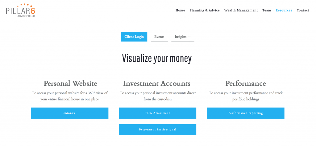 Pillar6 Advisors LLC, financial advisors using robo-advisor on their website