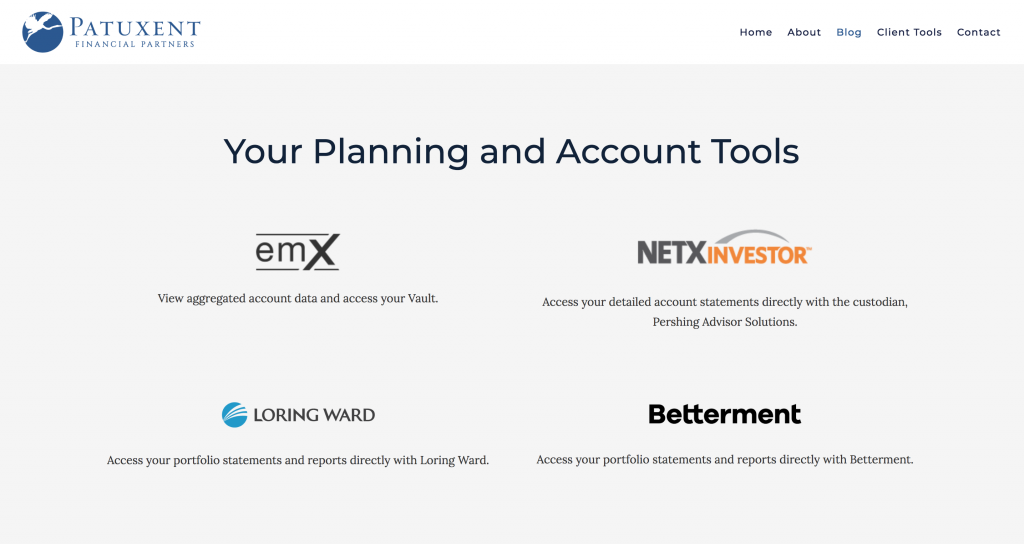 Patuxent Financial Partners, financial advisors using robo-advisors on their website, financial advisor using Betterment
