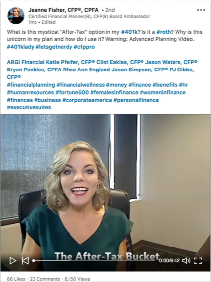 "46b850123be ... MBA she records a video rather than a written post to answer a simple  question for her social audience  ""what is the after-tax option in a 401 (k) """
