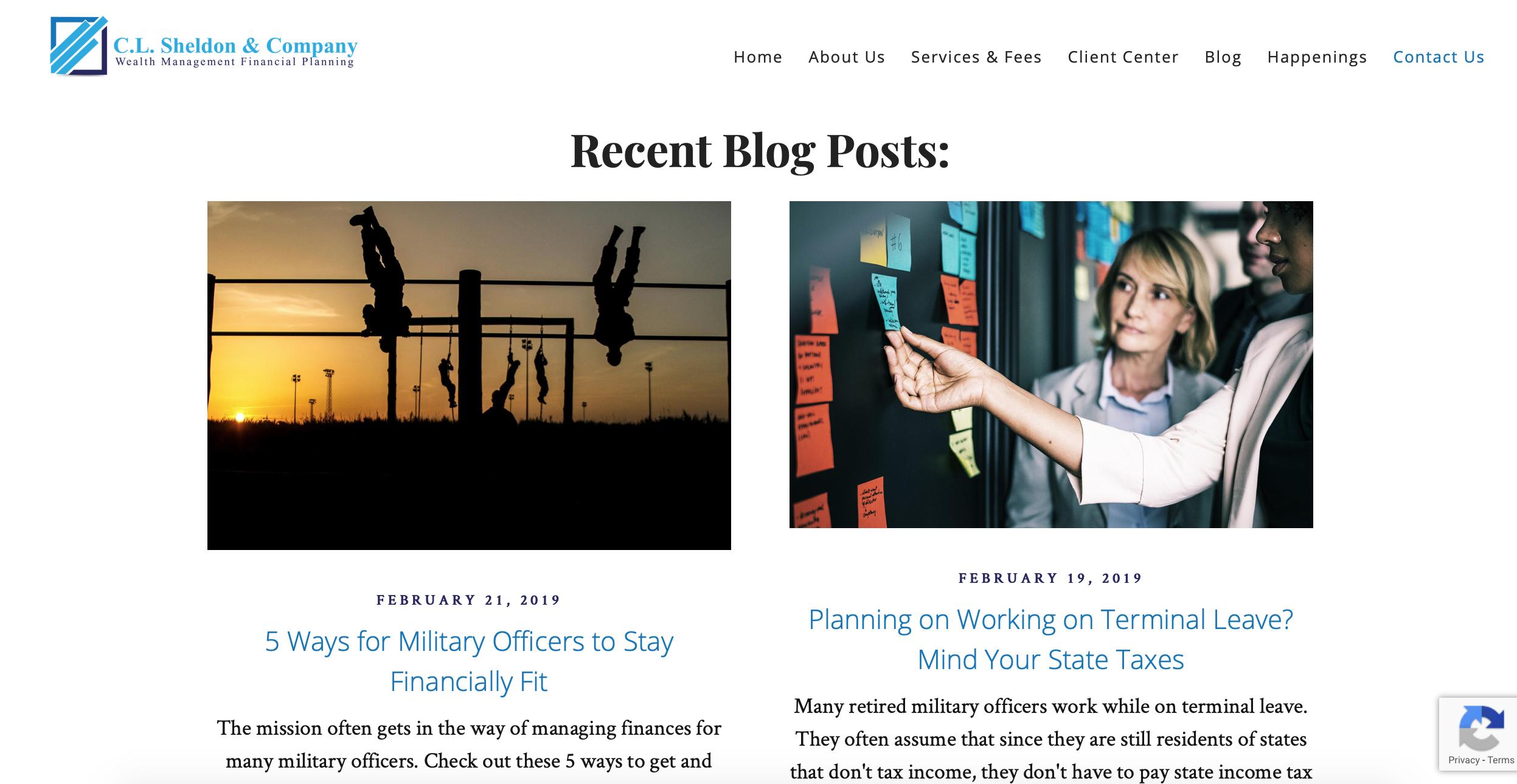 C.L. Sheldon & Company, advisor blog