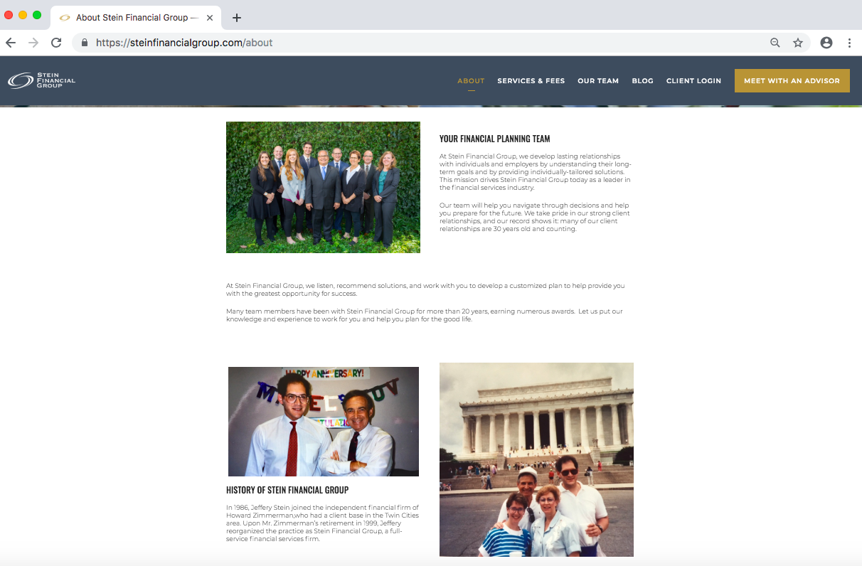 financial advisor bio, twenty over ten website, stein financial group