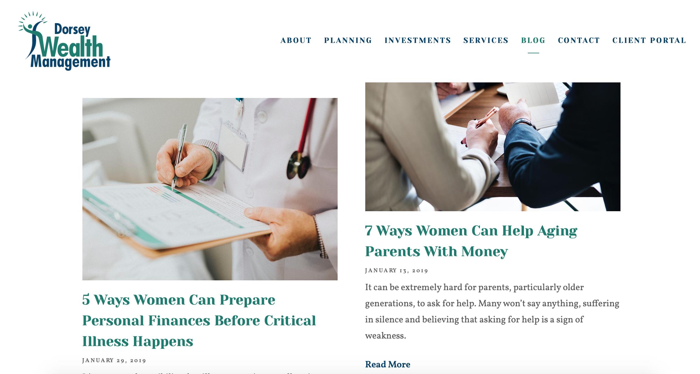 dorsey wealth management blog, financial advisor blog