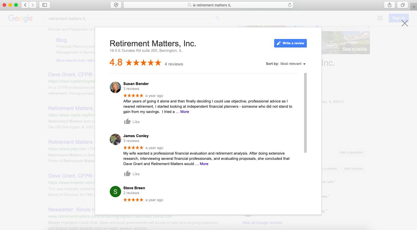 google reviews for financial advisors