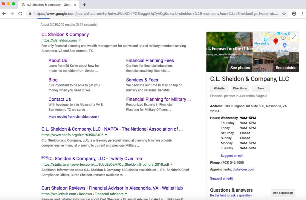 Google My Business C.L. Sheldon