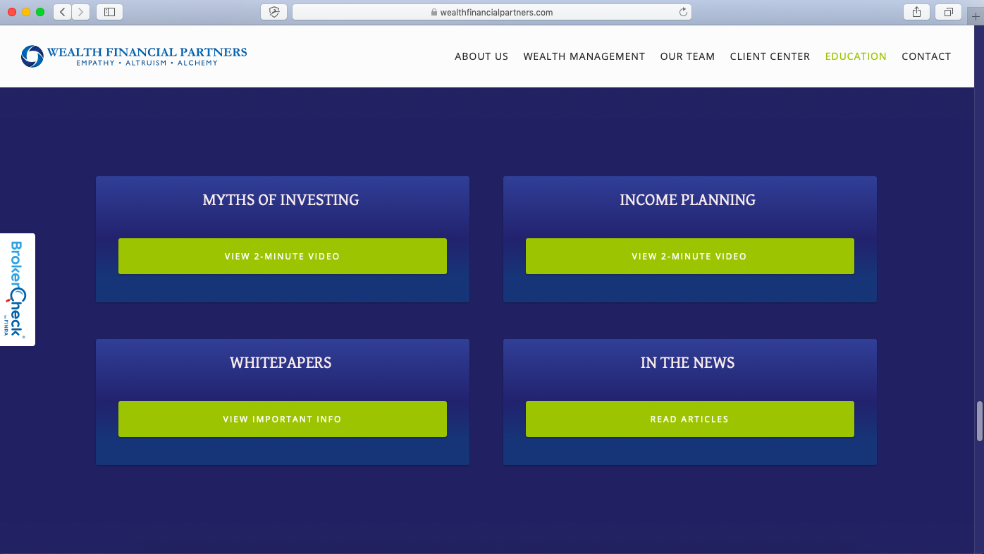 financial advisor resources page example wealth financial partners