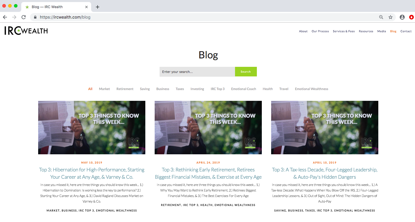 financial advisor blog, IRC Wealth