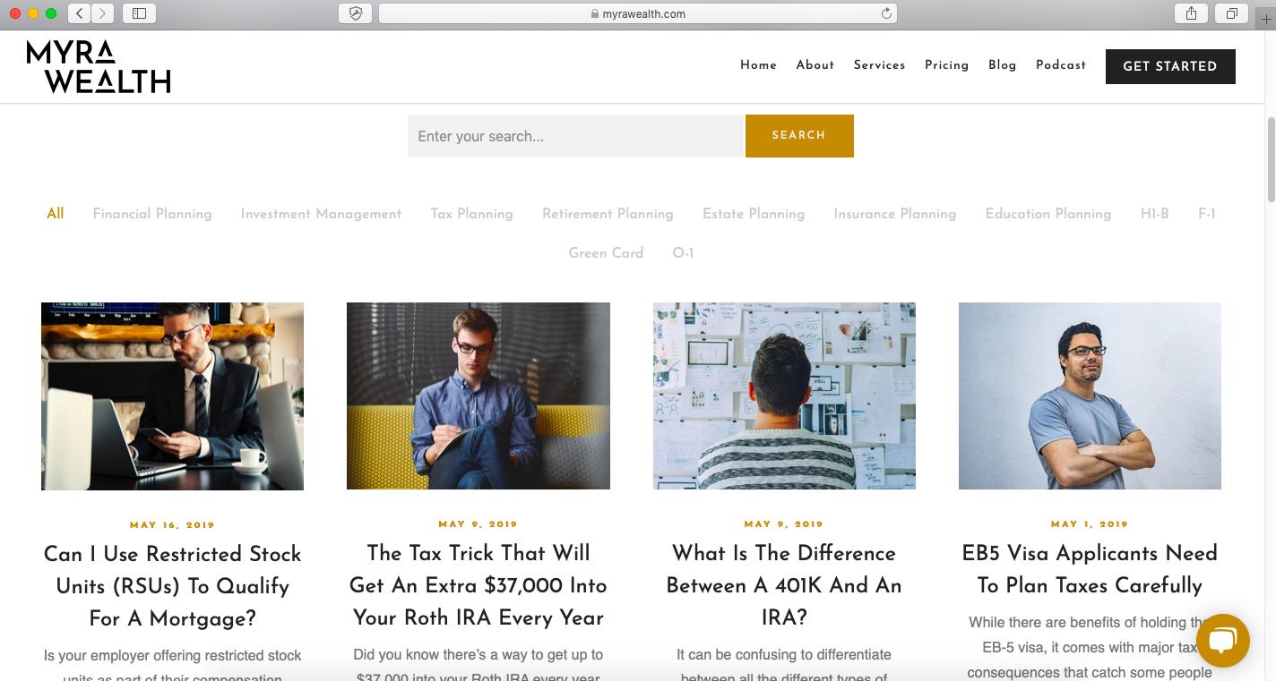 financial advisor blog example, myra wealth