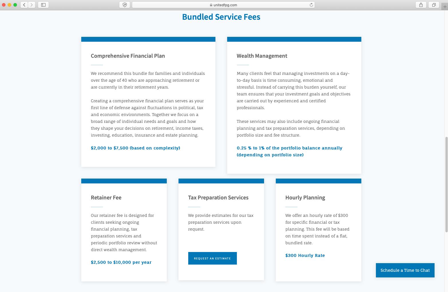 service fees on financial advisor website, united financial planning group llc