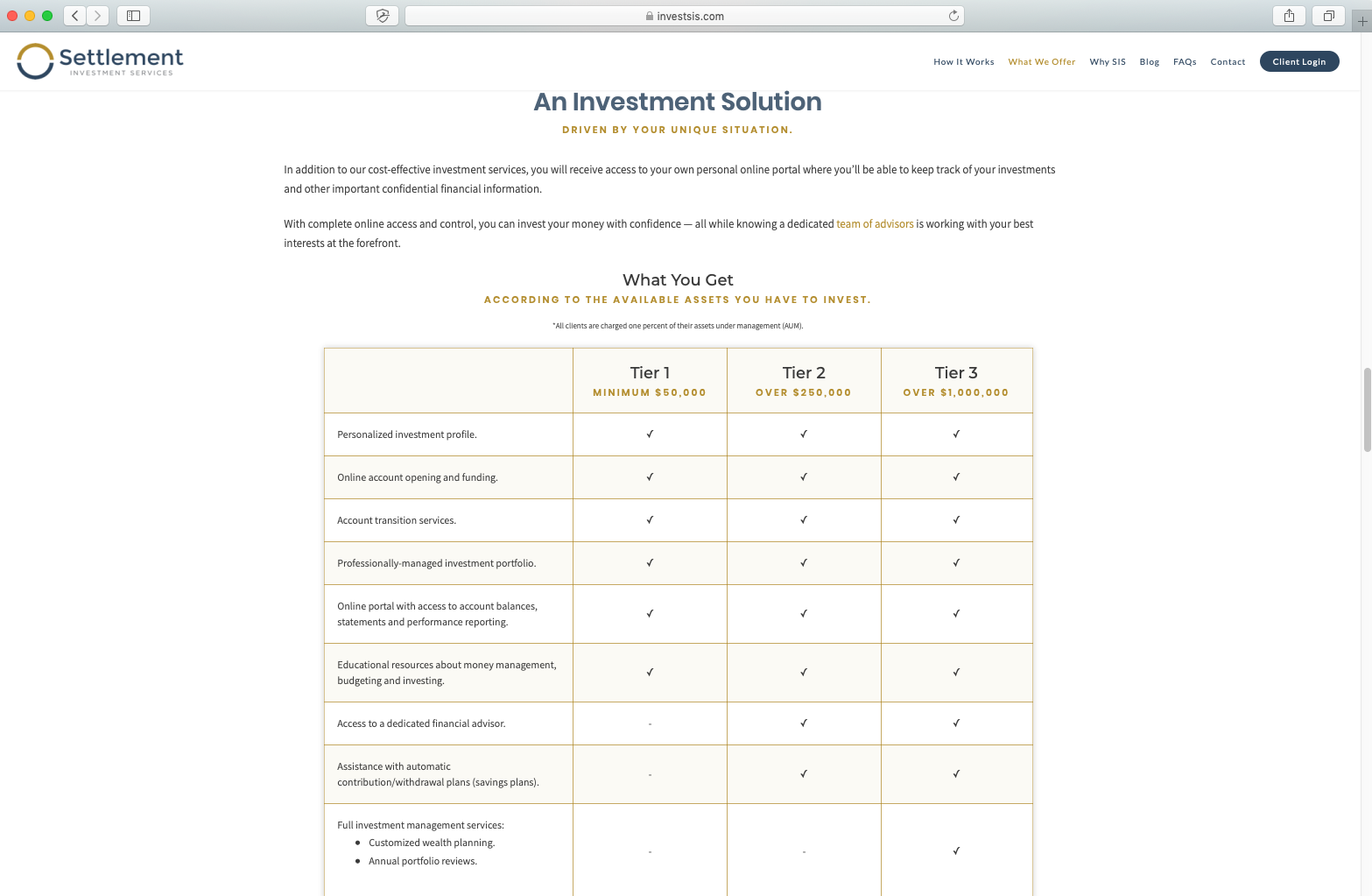 example of fee table on advisor website, settlement investment services