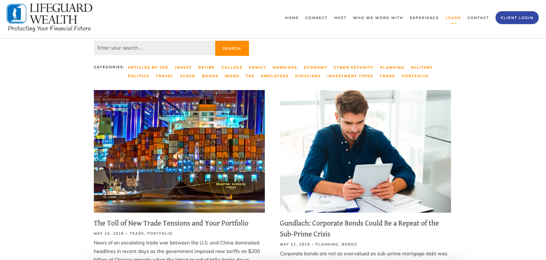 optimizing financial advisor blog page
