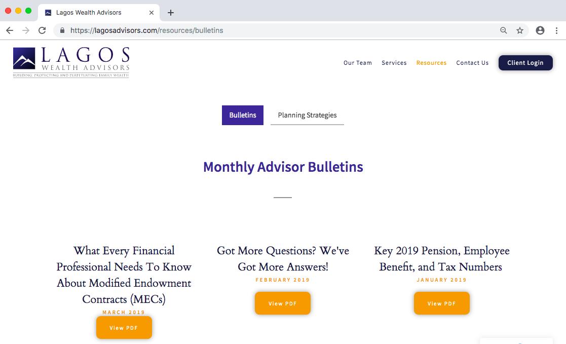 Lagos Wealth Advisors Bulletins