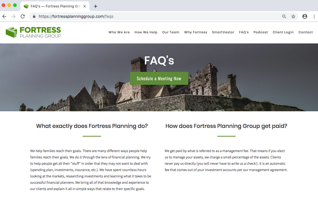 Fortress Planning FAQs
