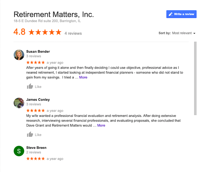 google reviews for financial advisors, Retirement Matters inc.
