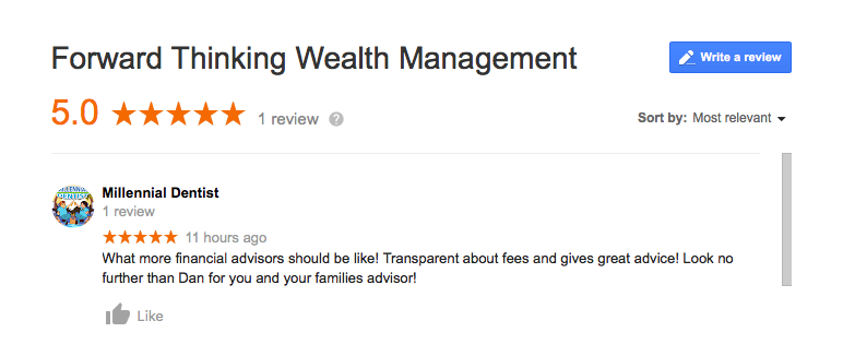 google reviews and financial advisors, Forward Thinking Wealth Management