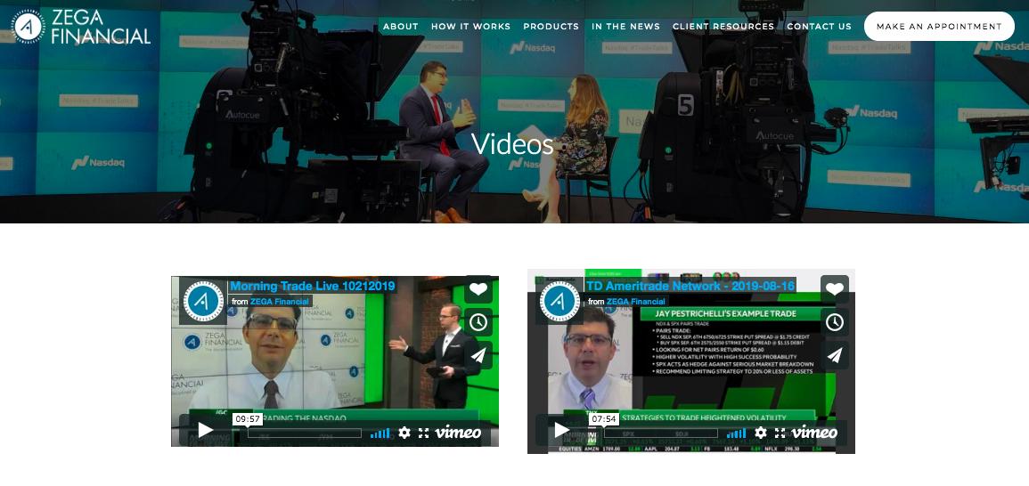 Zega Financial Videos