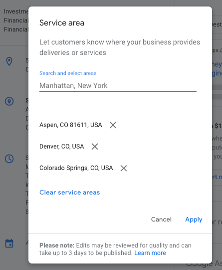 service areas in google my business seo best practices