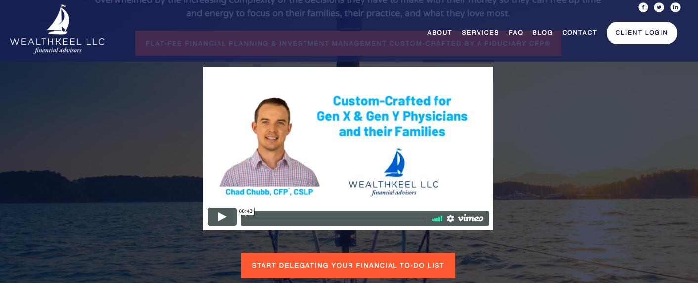 wealth keel llc financial advisor website built by twenty over ten