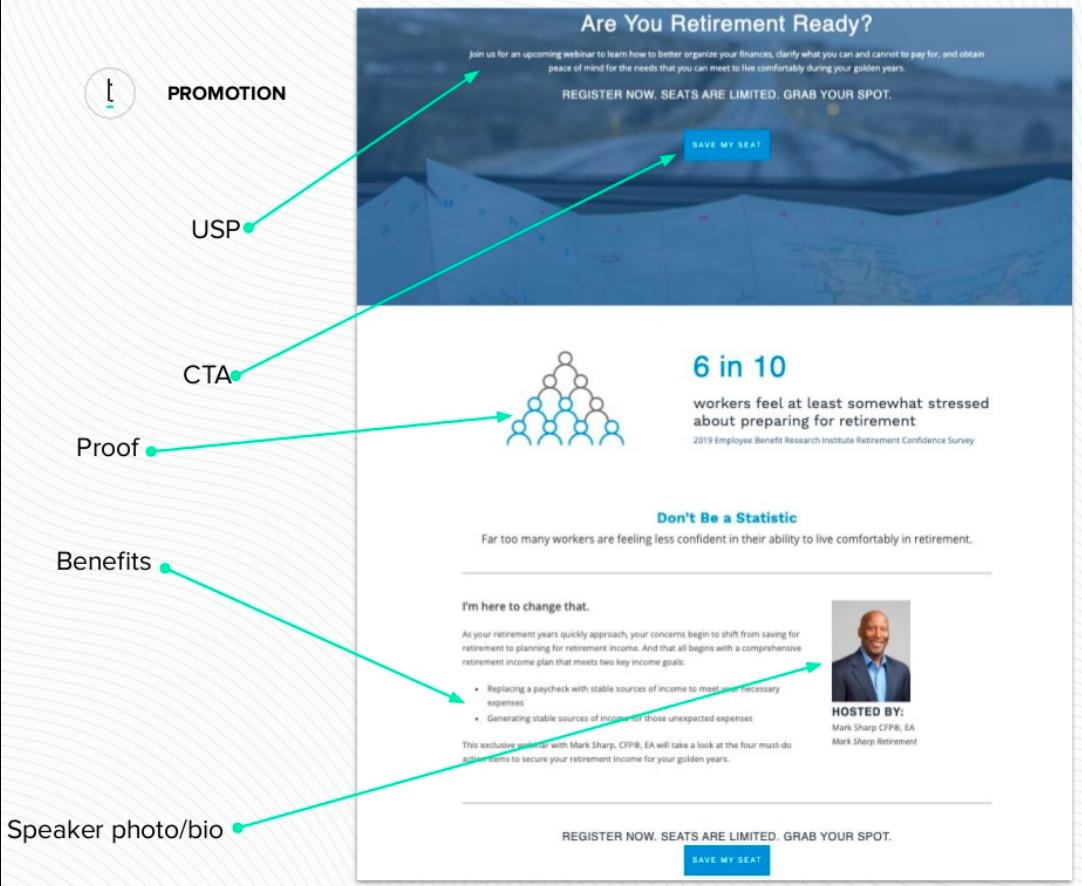 top performing webinar registration page