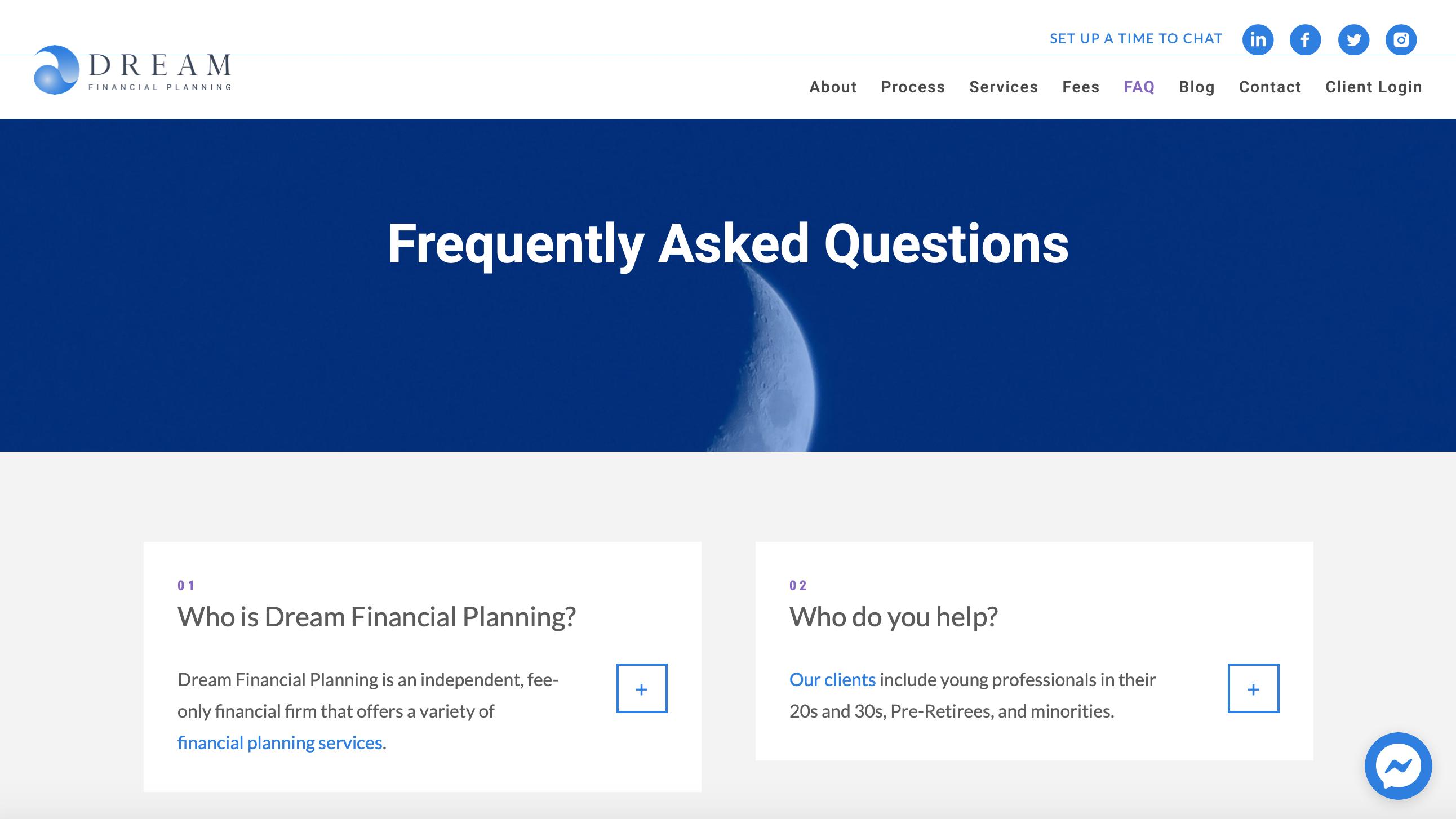 Dream Financial Planning FAQ page