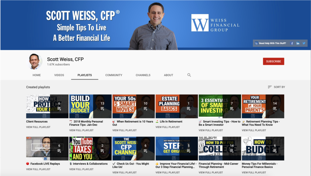 Example Financial advisor Youtube Channel Playlist