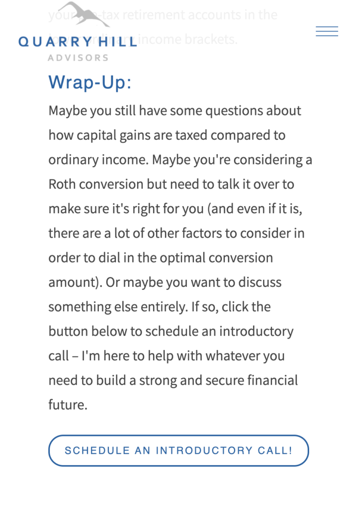Example Call to Action on an Advisor Blog Post