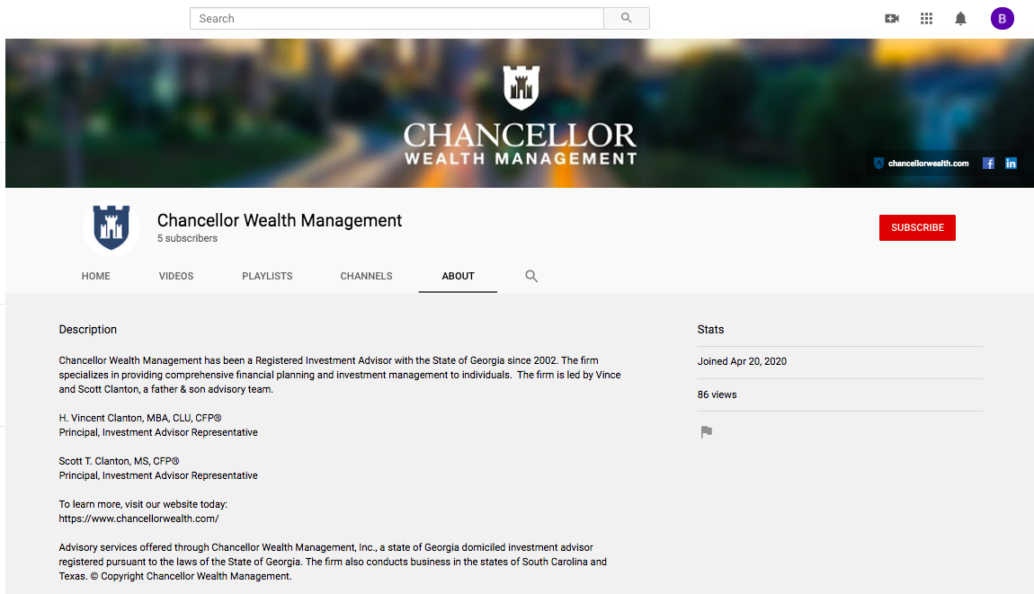 Chancellor Wealth Management youtube