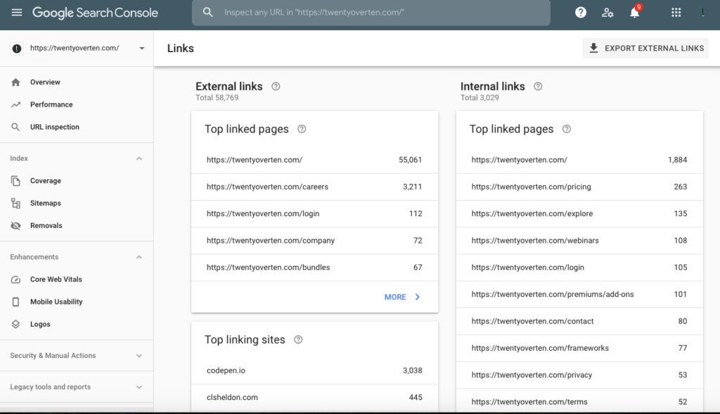 Google Search Console internal links