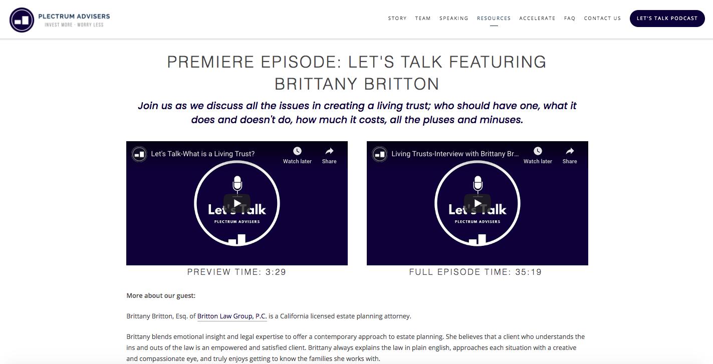Plectrum Advisers podcast
