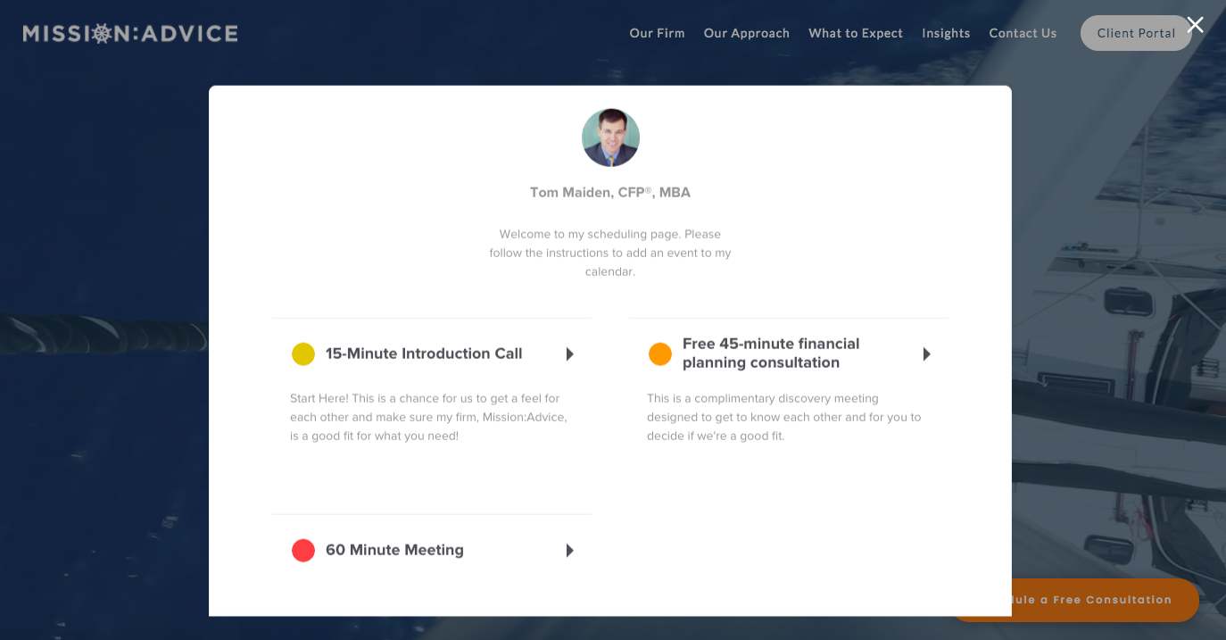 Mission:Advice Calendly app