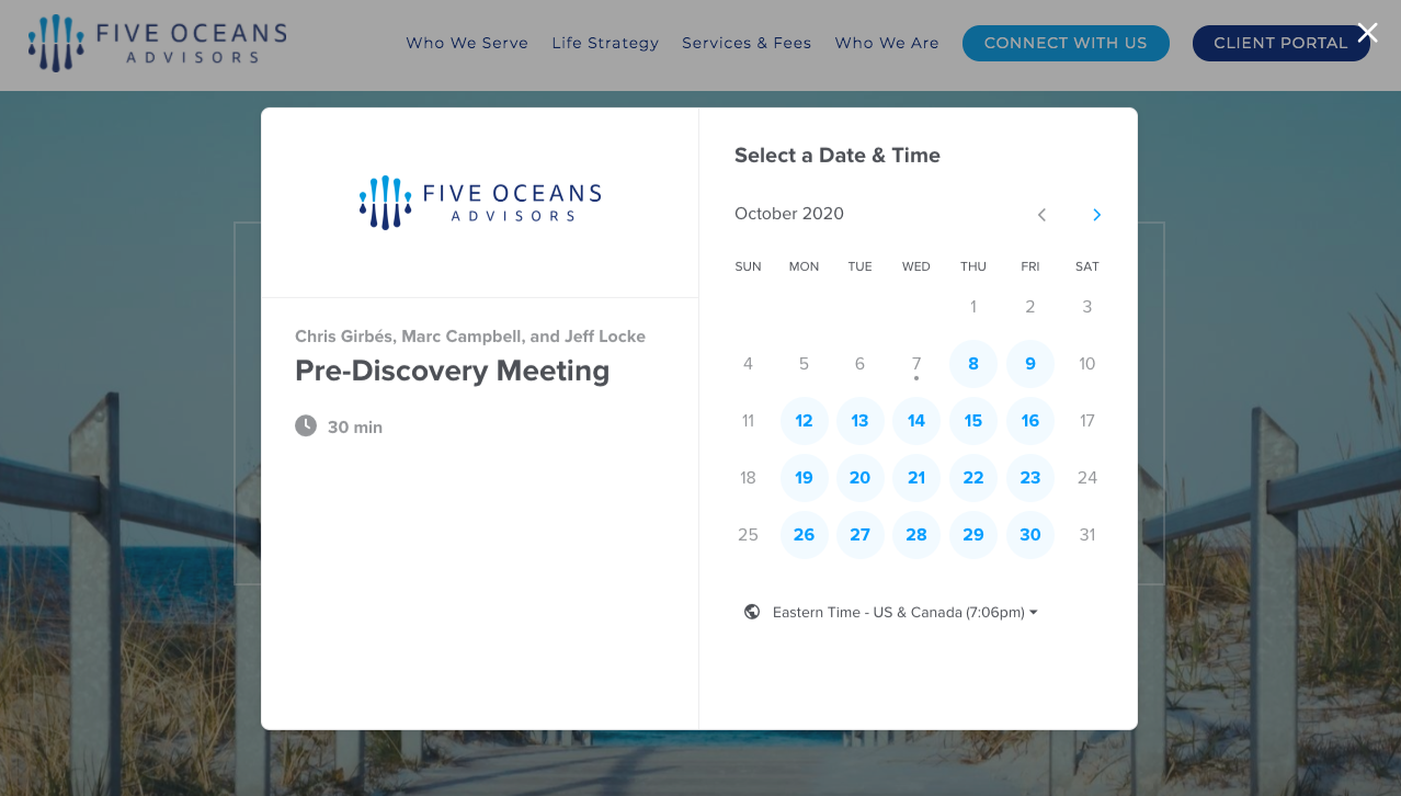 Five Oceans Advisors Calendly