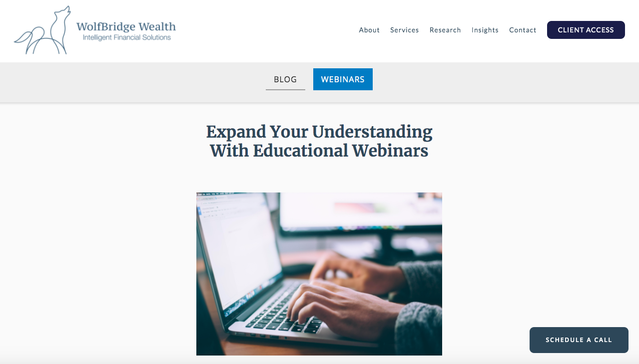 Webinars for Wolfbridge Wealth
