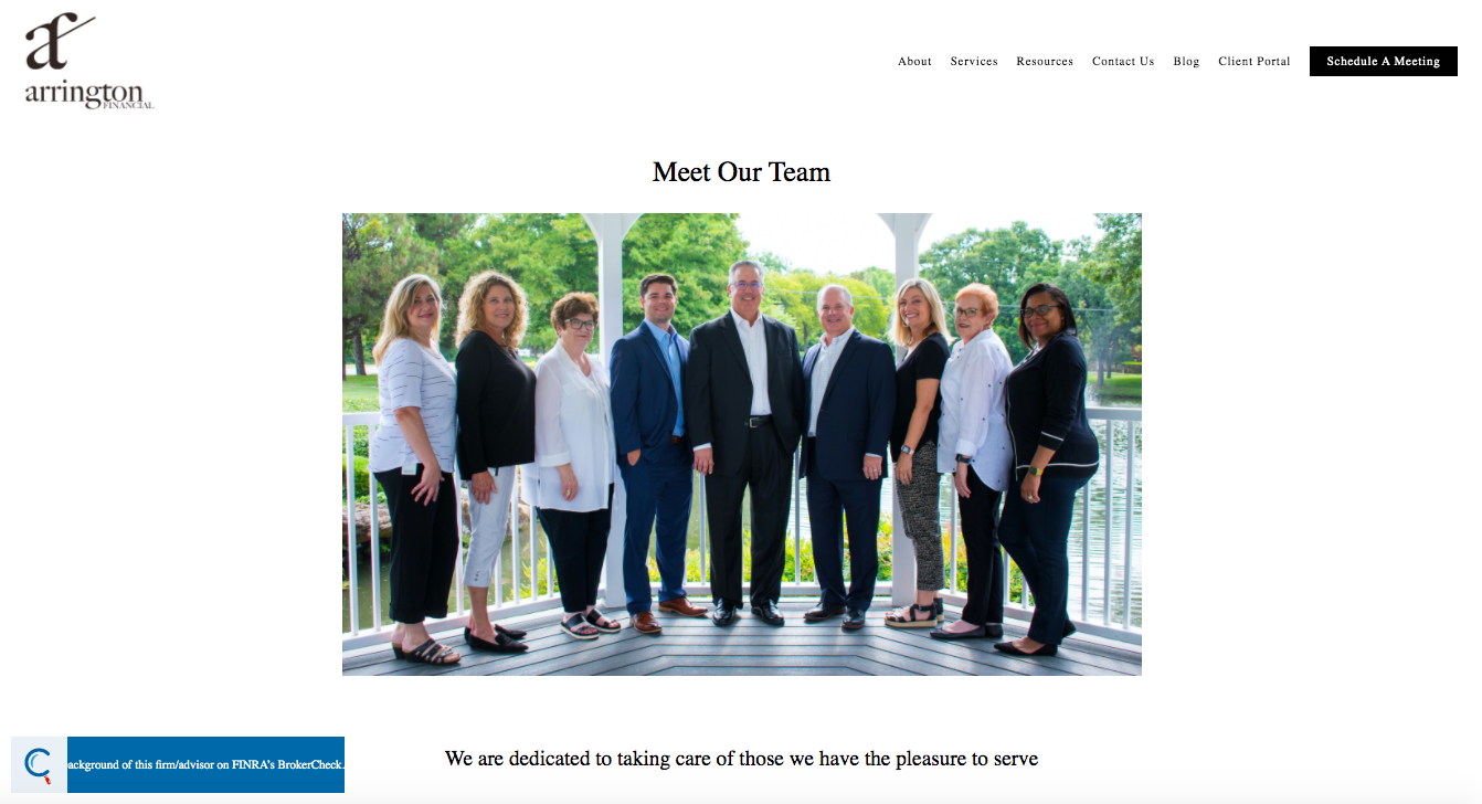 Arrington Financial Team page