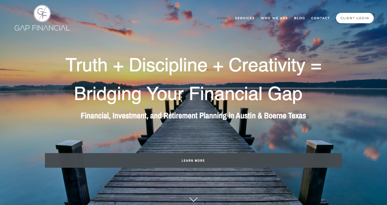 Gap Financial Services home page