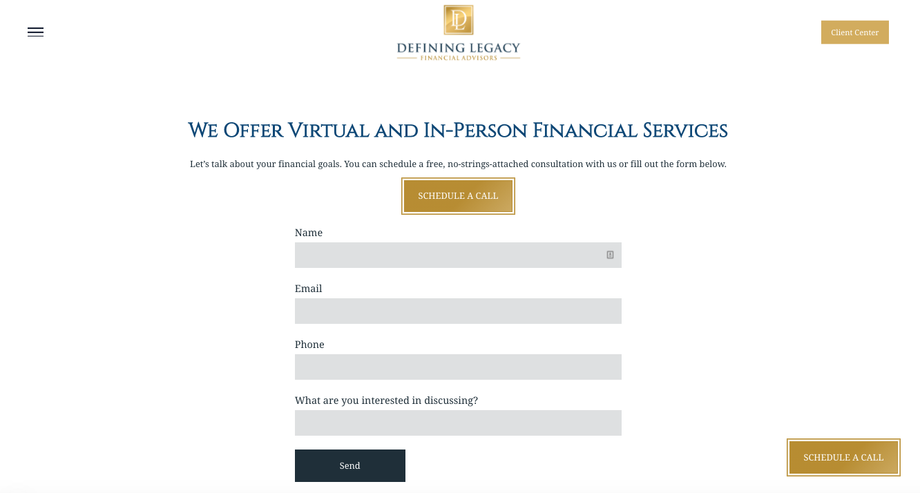 Contact page for Defining Legacy Financial Advisors